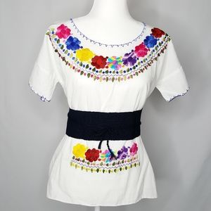 Mexican embroidered peasant blouse with belt